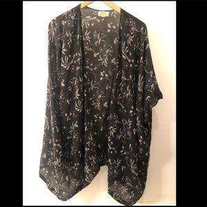 Sheer black floral Loft kimono
